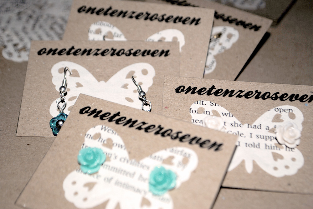 onetenzeroseven, earring cards, jewellery packaging, handmade