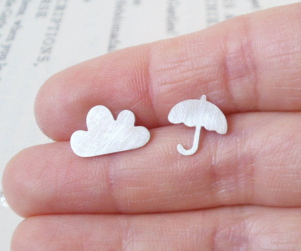 Cloud and Umbrella Earrings, Storm, Weather