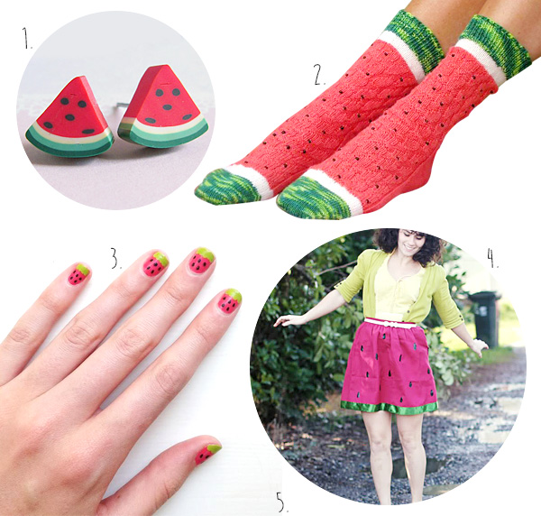 Watermelon Earrings, Watermelon Socks, Watermelon Skirt, Watermelon Clothes, Watermelon Nails, DIY