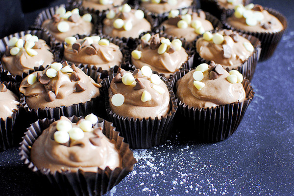 Chocolate Chip Cupcakes with Nutella Icing