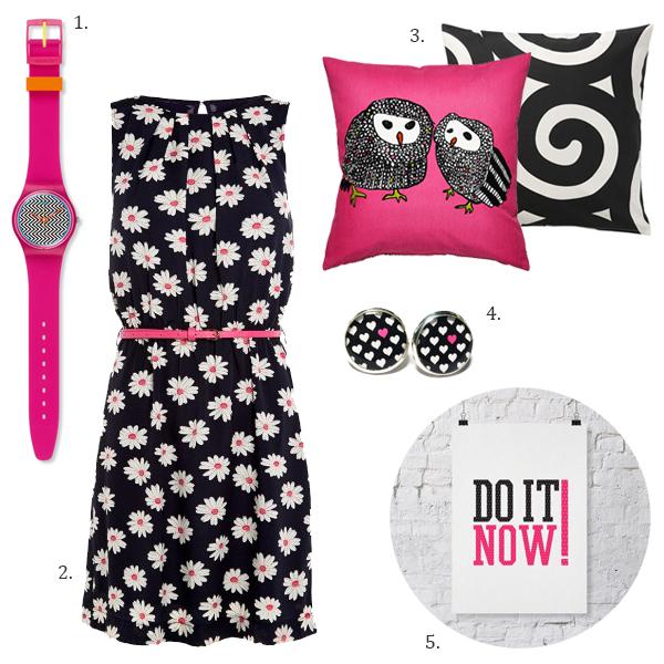 Hot Pink Black & White, Neon Pink
