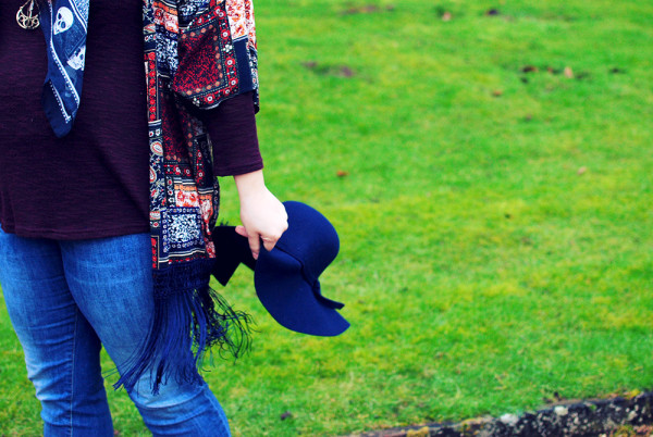 Casual outfit post, hats and jeans and boho fringed layers