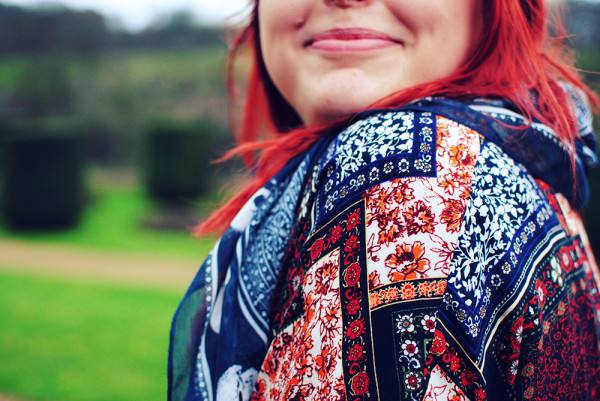Boho patterns and bright red hair