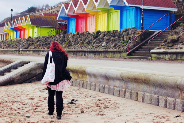 Colourful Beach Huts Yorkshire