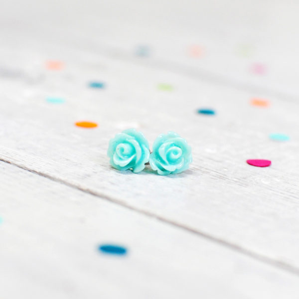 Mint Rose Earrings, Handmade Jewellery