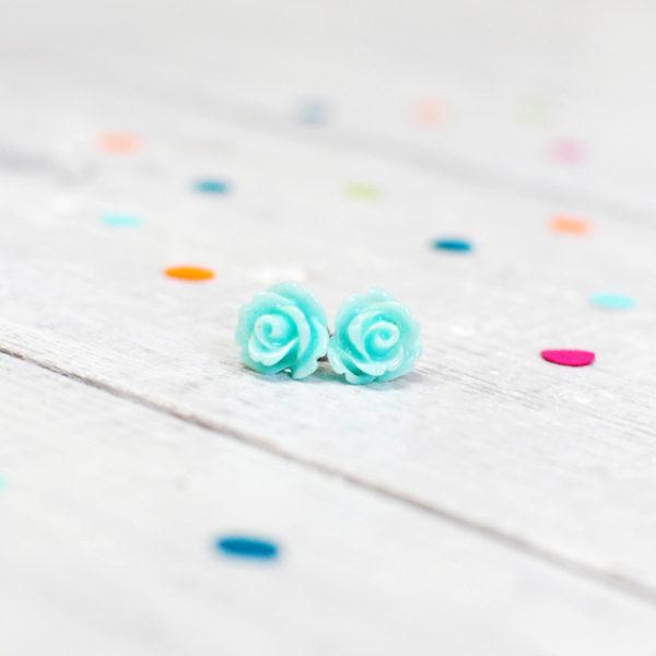 Mint Rose Earrings, Handmade Jewellery