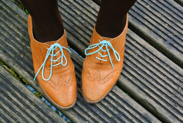 Tan brogues with colourful laces