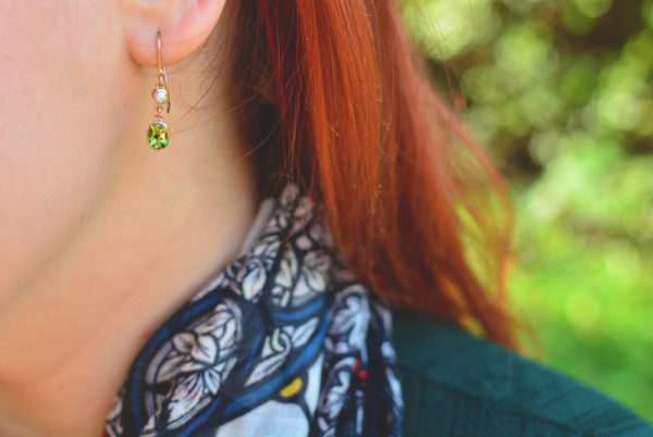 Peridot Pearl and Rose Gold Earrings