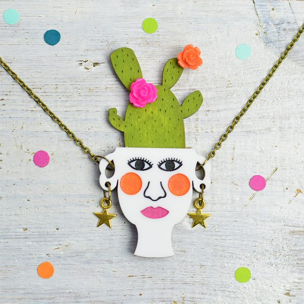 Cactus Jewellery, Plant Lady Jewellery, Cactus Necklace, Papel Picado Jewellery