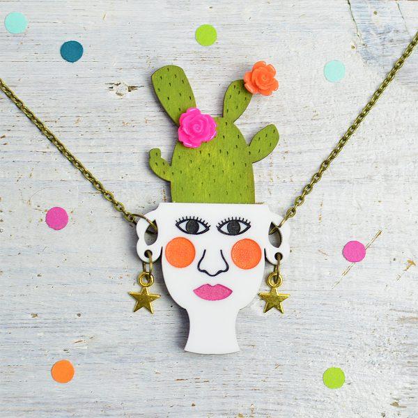 Cactus Jewellery, Plant Lady Jewellery, Cactus Necklace, Papel Picado Jewellery
