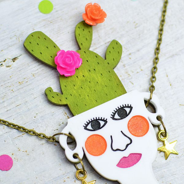 Cactus Necklace, Handmade Cactus Jewellery by Onetenzeroseven