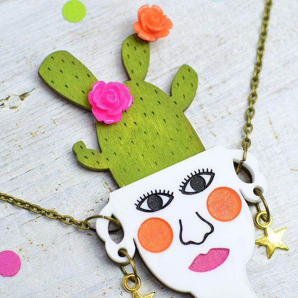 Cactus Necklace, Handmade Cactus Jewellery by Onetenzeroseven