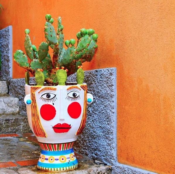 Plant Lady, Cactus Plant Pot, Taormina, Sicily