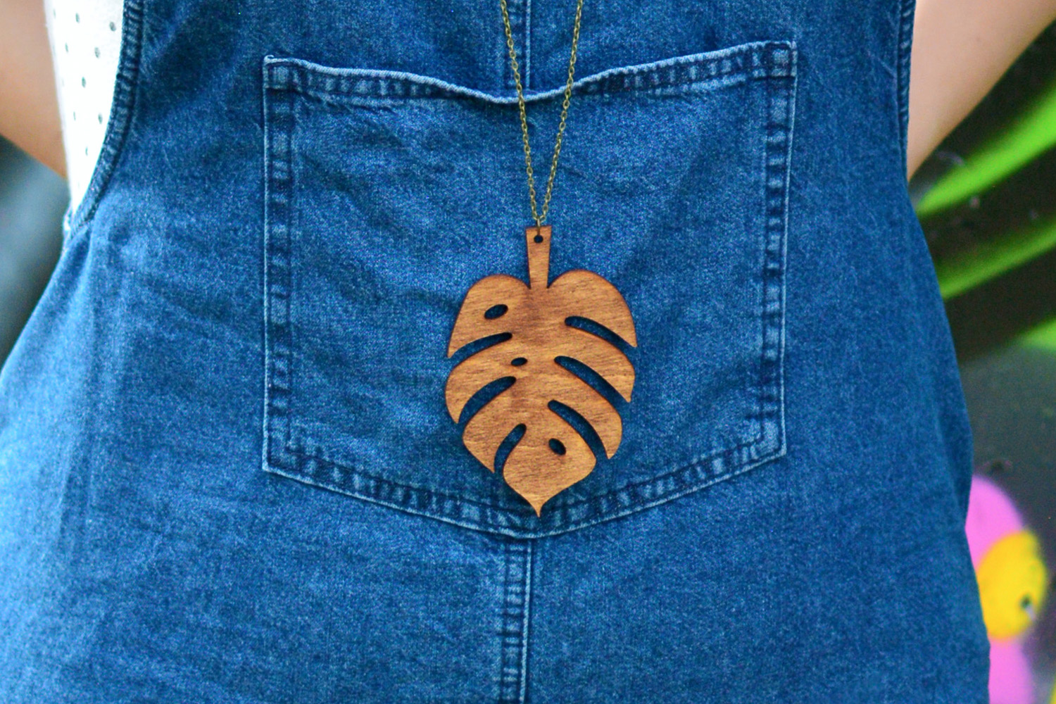 <span>Shop</span>Statement Monstera Leaf Necklace